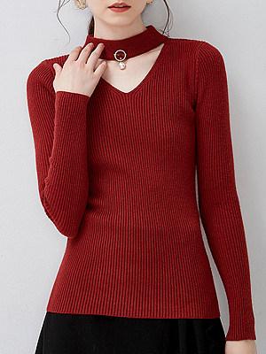 Collar  Elegant  Plain  Long Sleeve  Knit  Pullover