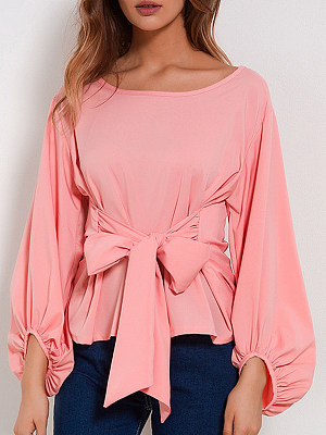 Autumn Spring Cotton Women Round Neck Bowknot Plain Long Sleeve Blouses