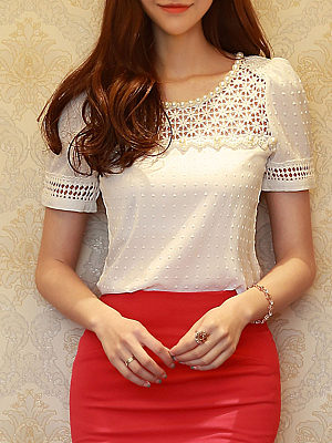 Round Neck Beading Cutout Plain Short Sleeve T-Shirts, 4207092