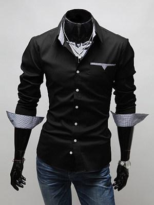 Turn Down Collar Gingham Lining Men Shirts
