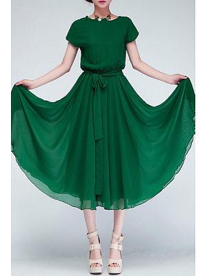 Ruched Neck  Hem  Belt  Plain  Batwing Sleeve Maxi Dress