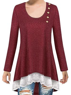 Autumn Spring Polyester Women Round Neck Asymmetric Hem Decorative Lace Patchwork Decorative Button Plain Long Sleeve T-Shirts