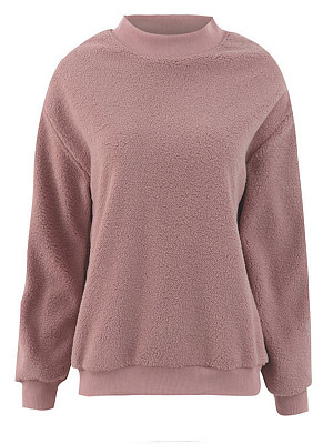 Round Neck Plain Long Sleeve Sweatshirts, 6231285