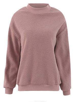 Round Neck Plain Long Sleeve Sweatshirts
