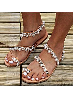 Bohemian Flat Peep Toe Casual Date Flat Sandals, 6621880