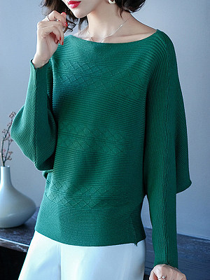 Round Neck Patchwork Elegant Plain Long Sleeve Knit Pullover, 8151714