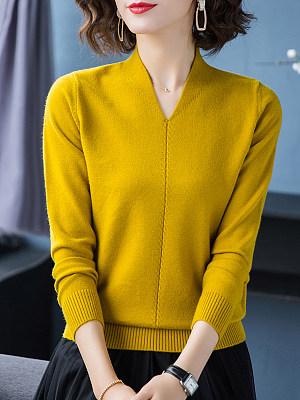 V Neck  Patchwork  Elegant  Plain  Long Sleeve  Knit Pullover