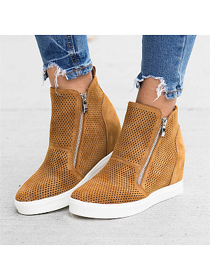 Plain Round Toe Casual Date Travel Sneakers, 8114691