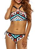 Spaghetti Strap  Geometric Printed Plus Size Bikini