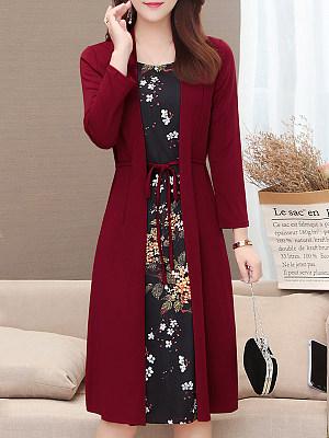 Casual Long Sleeves Ties Dress, 7902759