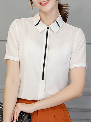 Turn Down Collar Patchwork Stripes Blouses