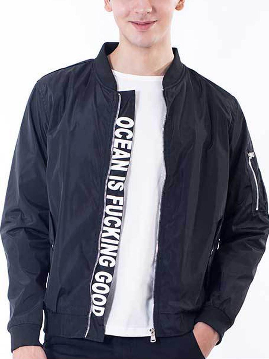BerryLook Men Band Collar Flap Pocket Letters Bomber Jacket