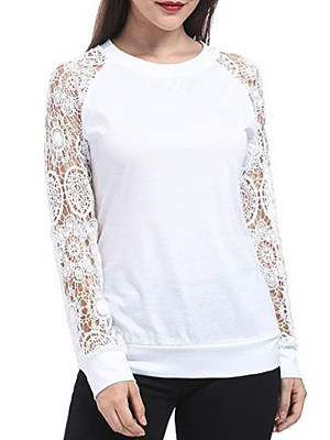 Autumn Spring Polyester Women Round Neck Decorative Lace Plain Long Sleeve T-Shirts