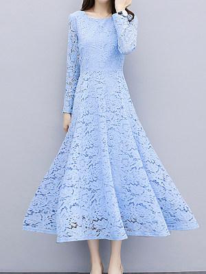 Round Neck Lace Plain Maxi Dress фото