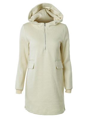 Hooded Zipper Plain Hoodie, 6329639