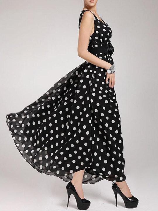 Round Neck Belt Dot Maxi Dresses