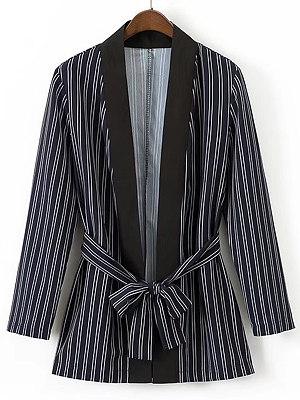 Fold Over Collar Vertical Striped Blazer