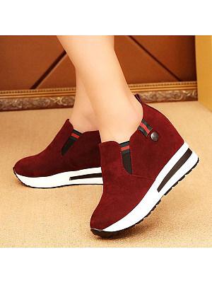 Plain Low Heeled Velvet Round Toe Casual Sneakers, 5304494