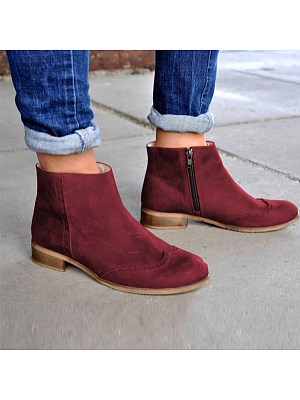 berrylook Chunky Low Heeled Round Toe Date Outdoor Short Ankle Boots