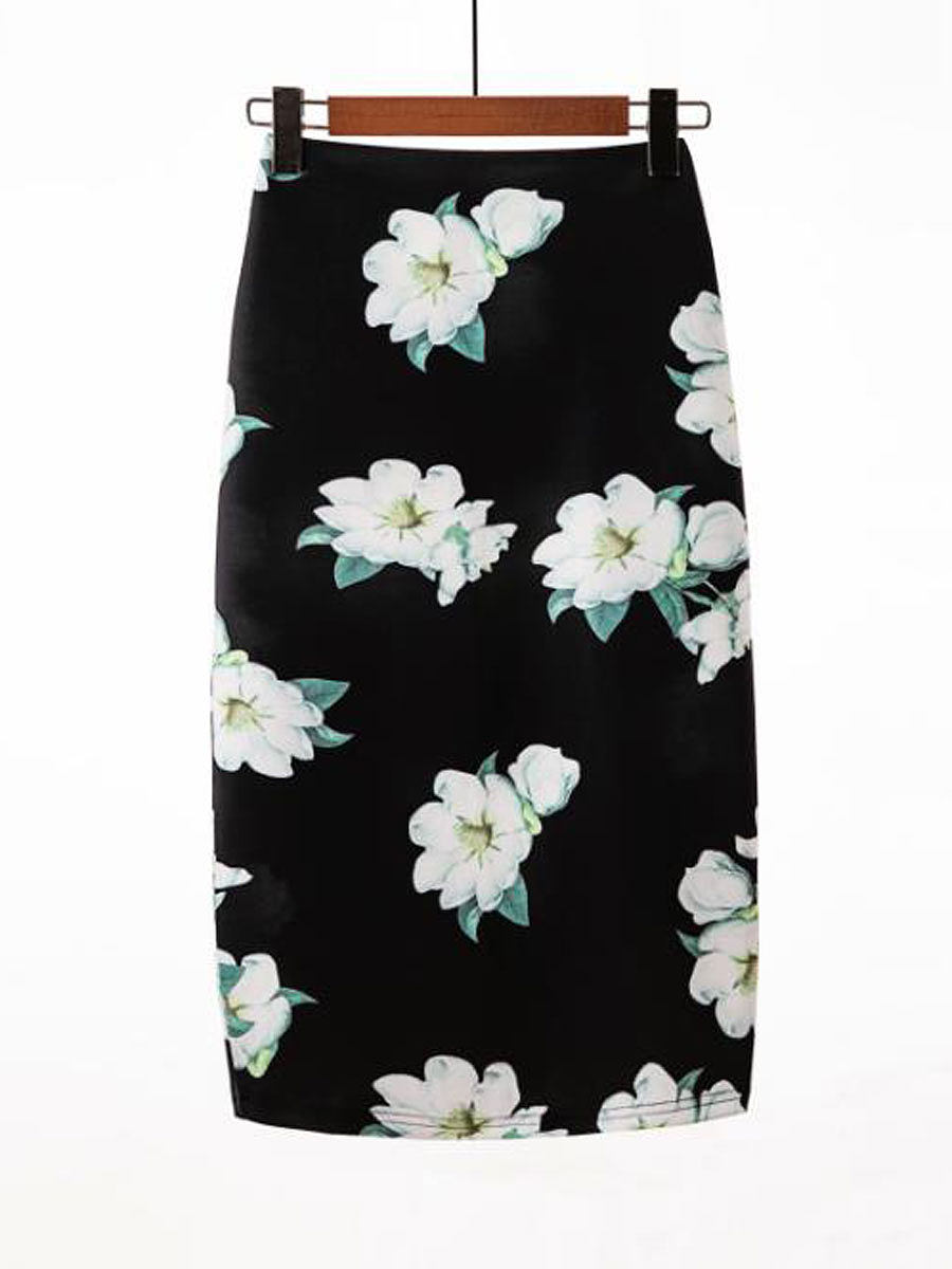 Lightweight  Bohemian Printed  Straight Knee-Length Skirts