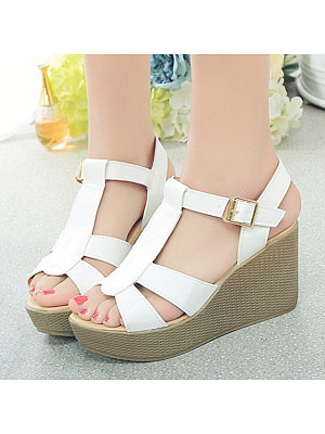 Plain High Heeled Ankle Strap Peep Toe Date Office Wedge Sandals