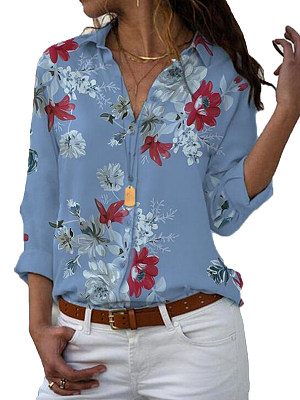 Turn Down Collar Loose Fitting Single Breasted Print Blouses, 6822255