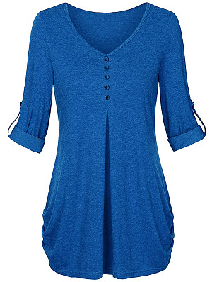V Neck Decorative Buttons Loose Fitting Plain Long Sleeve T-Shirts, 6202514