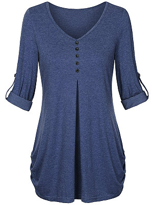 V Neck Decorative Buttons Loose Fitting Plain Long Sleeve T-Shirts