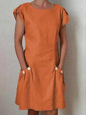 Round Neck Decorative Buttons Patch Pocket Plain Shift Dress, 6887204