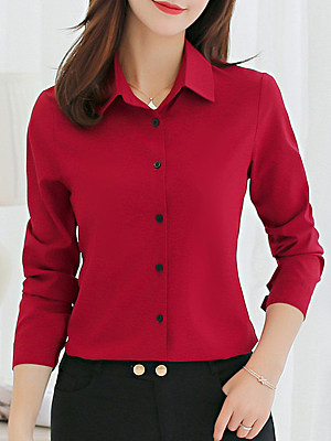 Single Breasted Plain Turn Down Collar Blouse, 3946059