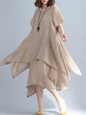 Round Neck Asymmetric Hem Plain Maxi Dress, 6750912