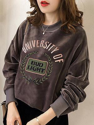 Round Neck Embroidery Long Sleeve Sweatshirts