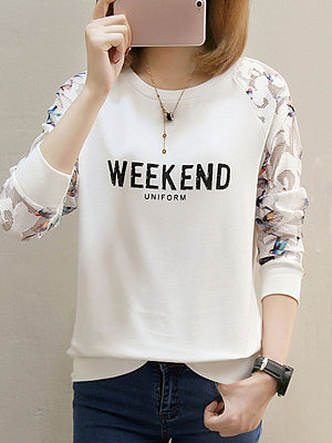 Berrylook coupon: Round Neck  Patchwork  Letters Printed Long Sleeve T-Shirts