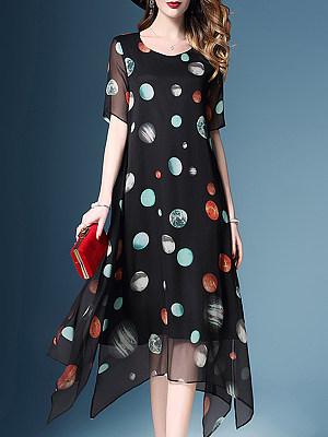 Round Neck Asymmetric Hem Print Maxi Dress, 4678447