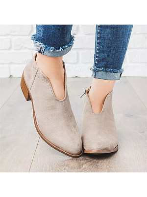 Plain Chunky Velvet Point Toe Casual Outdoor Ankle Ankle Boots