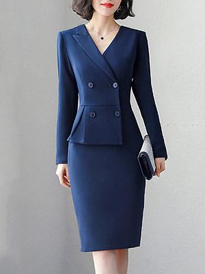 V-Neck Double Breasted Plain Bodycon Dress, 8256904