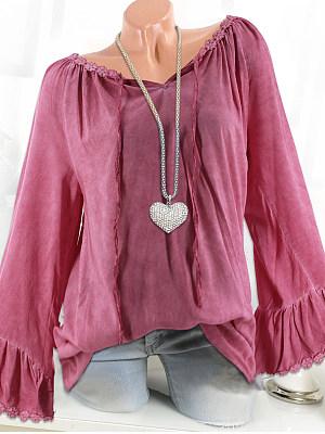 Round Neck Patchwork Elegant Plain Long Sleeve Blouses, 8028131