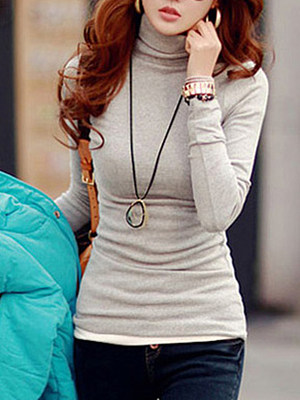 Basic Turtleneck Plain Long Sleeve T-Shirt