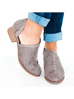Hollow Out Plain Chunky Low Heeled Point Toe Casual Outdoor Ankle Boots
