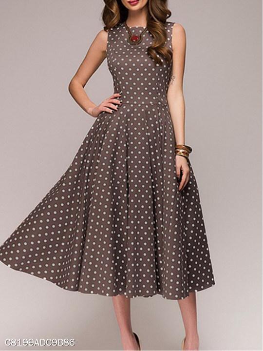 Round Neck Polka Dot Skater Dress Berrylook Com
