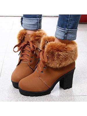 Plain Chunky High Heeled Velvet Round Toe Date Outdoor Short High Heels Boots, 5880792
