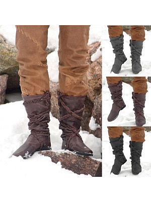 Distressed Plain Round Toe Boots, 8914983