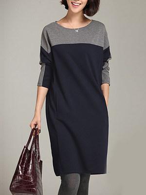 Round Neck Color Block Pocket Shift Dress, 3992957