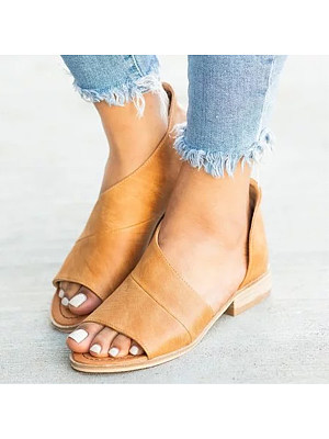Plain Flat Peep Toe Casual Date Flat Sandals, 6431658