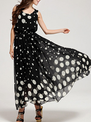 Round Neck Elastic Waist Polka Dot Maxi Dress