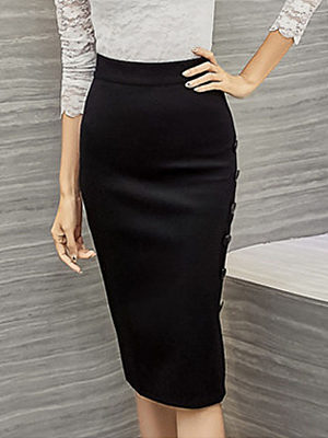 Plain Cutout Curved Hem Decorative Button Pencil Midi Skirts, 4106352