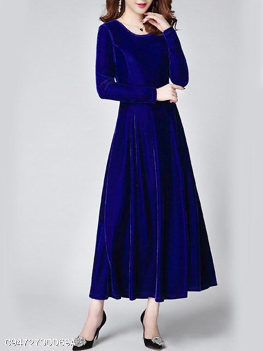 dfebcd4594 Round Neck Plain Long Sleeves Maxi Dresses - berrylook.com