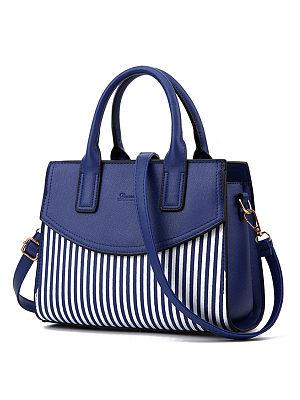 Striped Patchwork Pu Shoulder Bag
