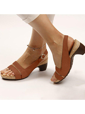 Plain Chunky Mid Heeled Peep Toe Date Travel Sandals фото