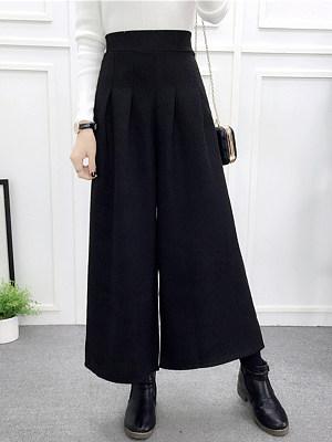 Elastic Waist Woolen Wide-Leg Casual Pants